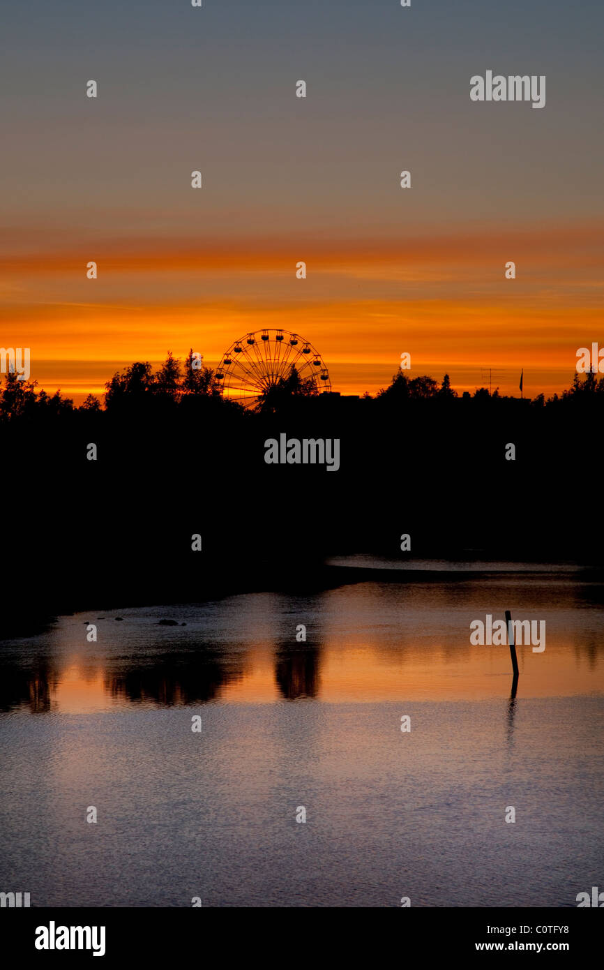 Shot in Oulu Finland at 00:06 in the evening. - Stock Image