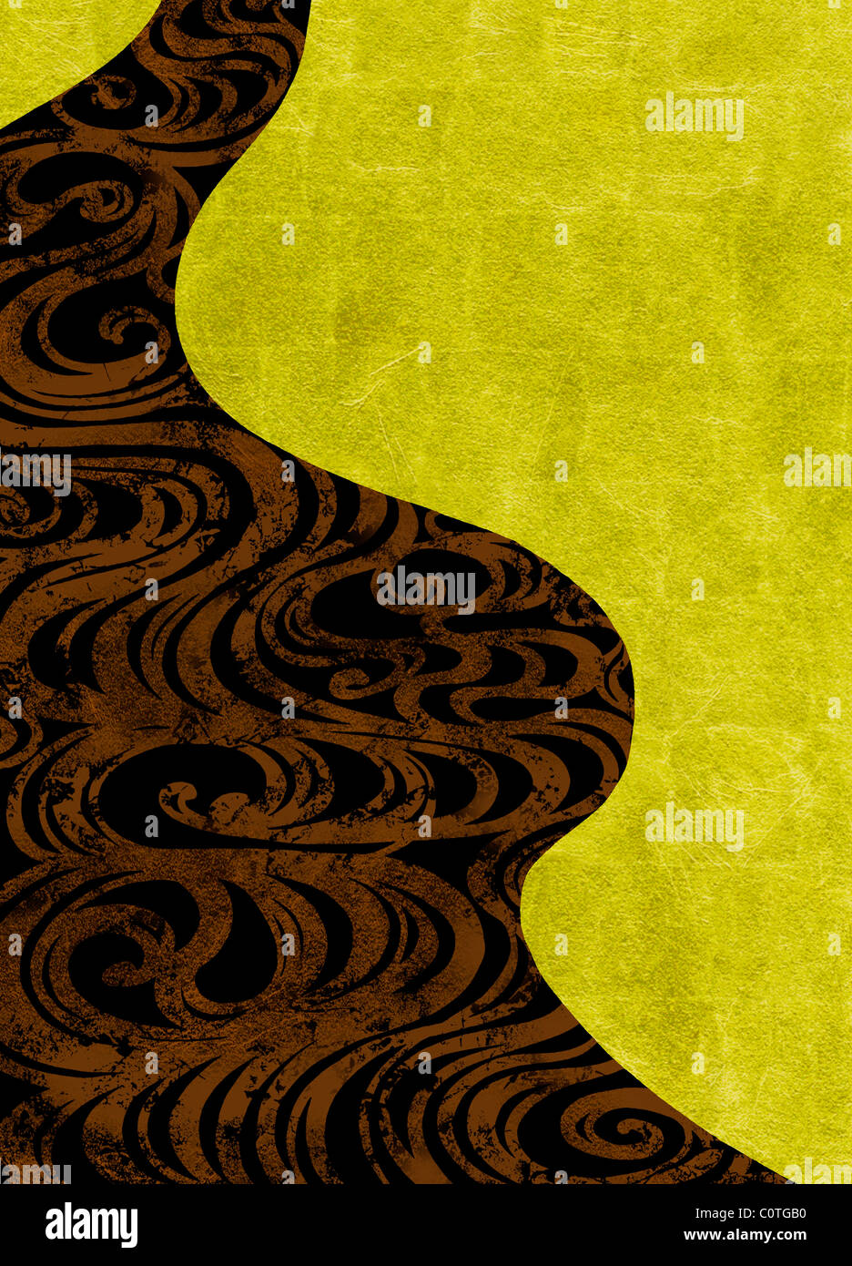 Swirls on Gold and Black Backgrounds - Stock Image