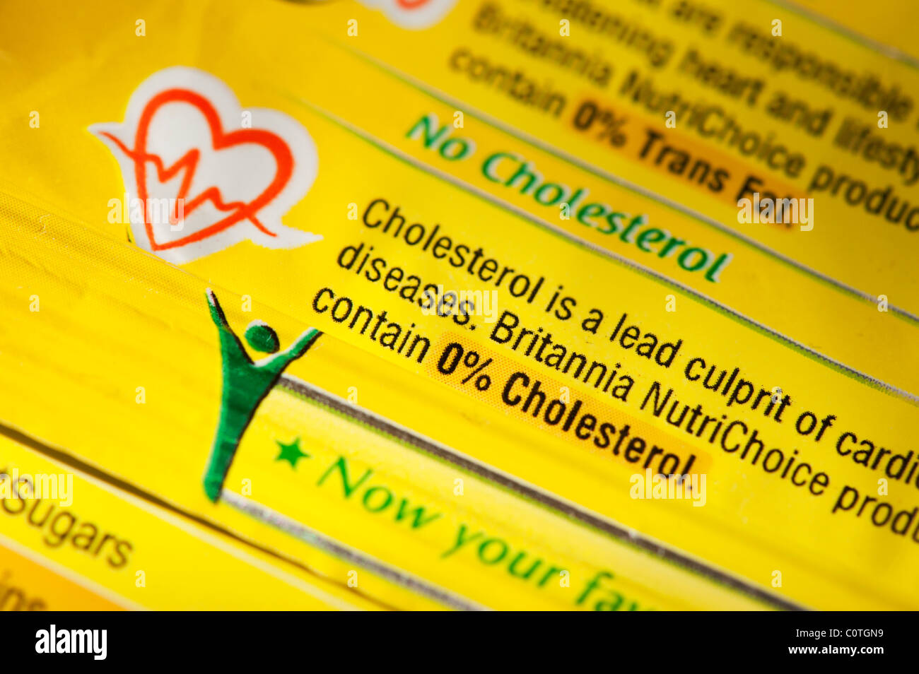 No cholesterol and no trans fats food advice on an indian food packet. India Stock Photo