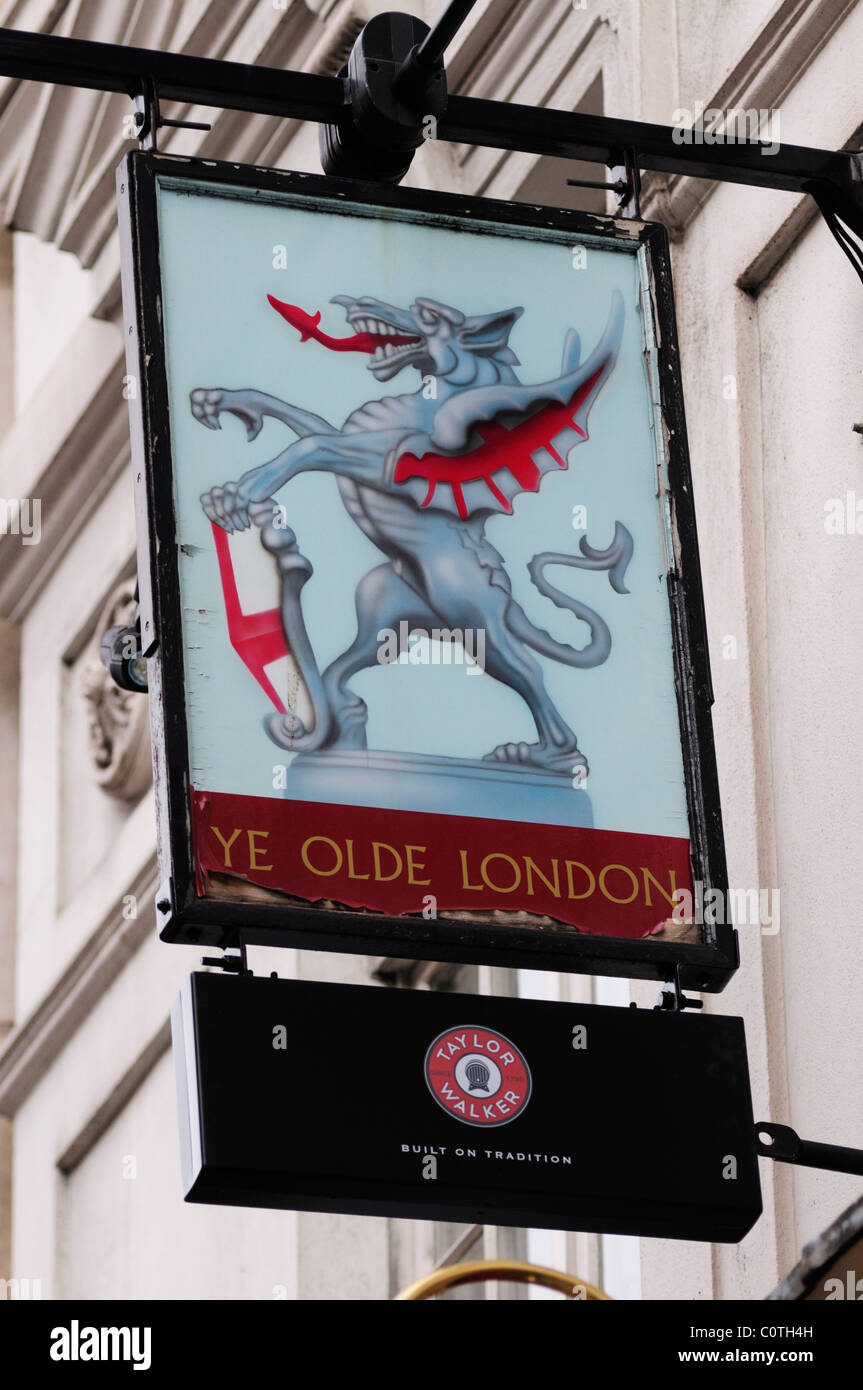 Ye Olde London pub Sign, Ludgate Hill, London, England, UK - Stock Image