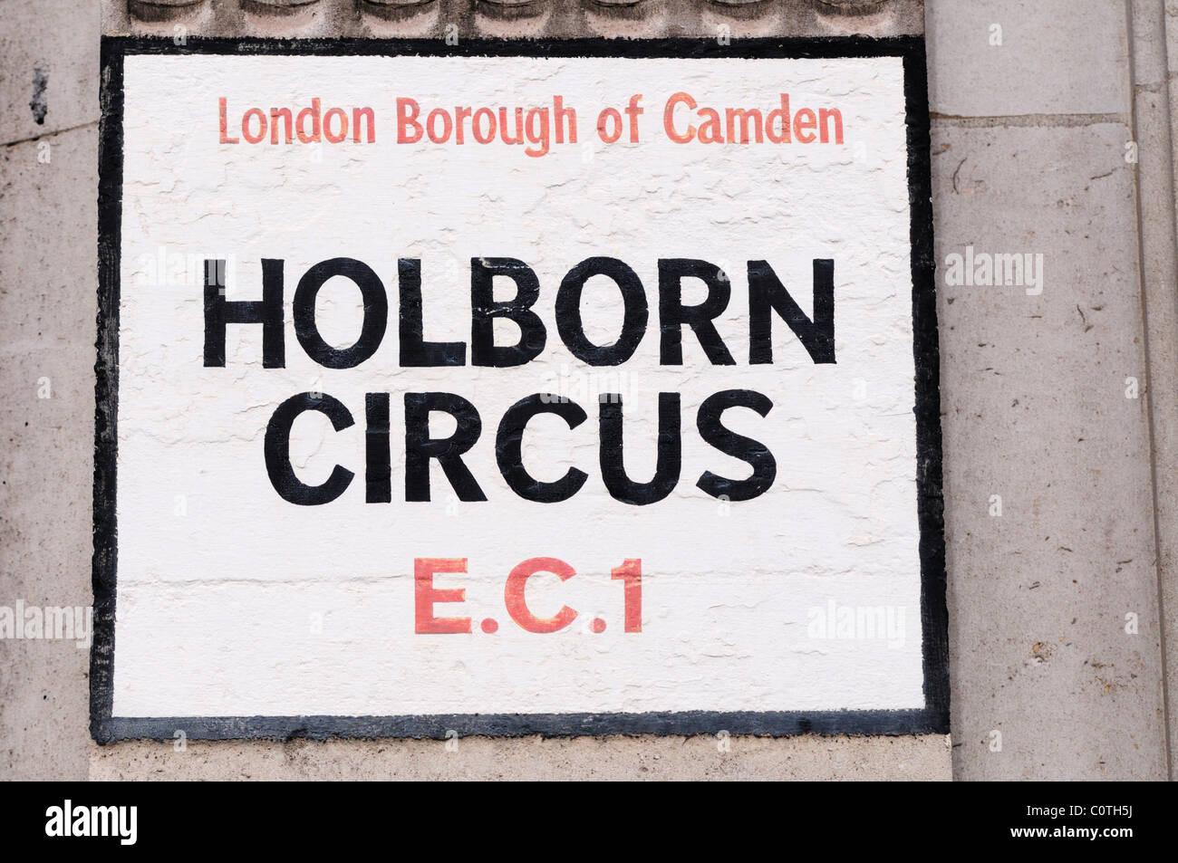 Holborn Circus EC1 Street Sign, London, England, UK - Stock Image