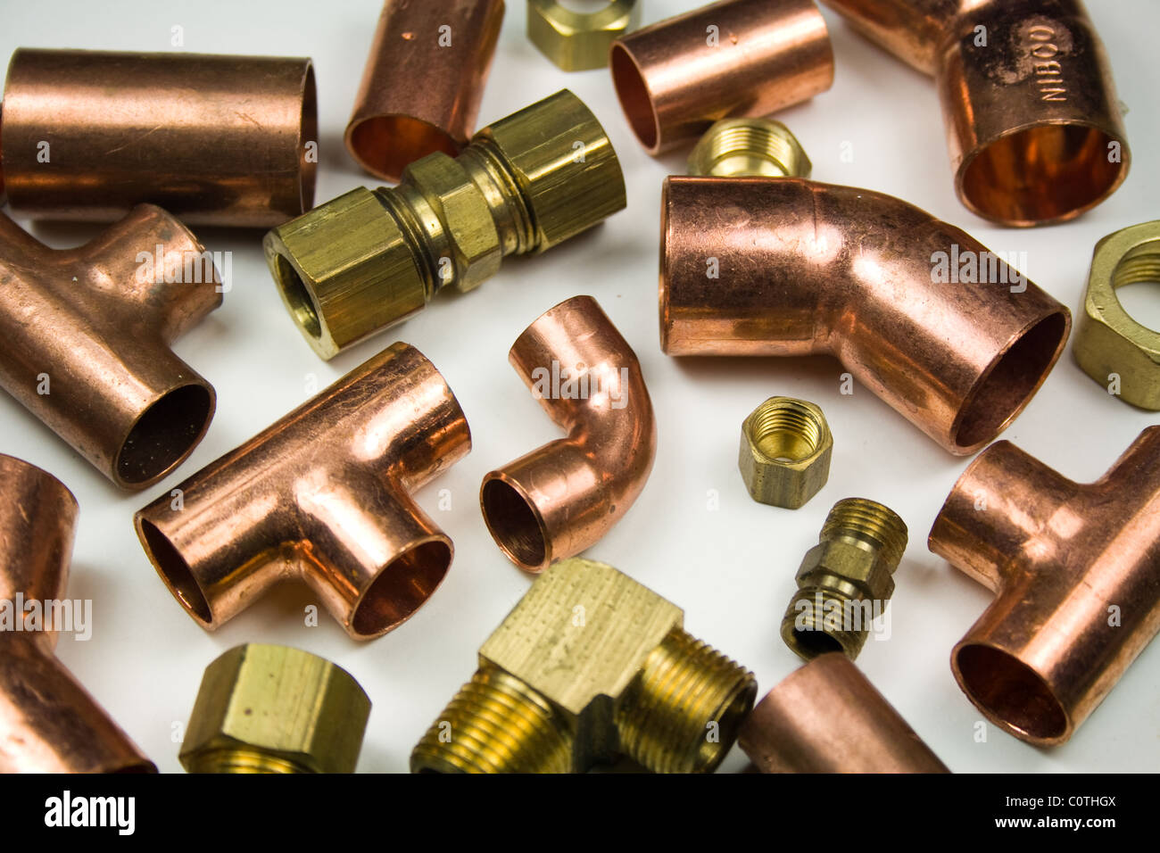 Copper and Brass Plumbing Connectors - Parts - Stock Image