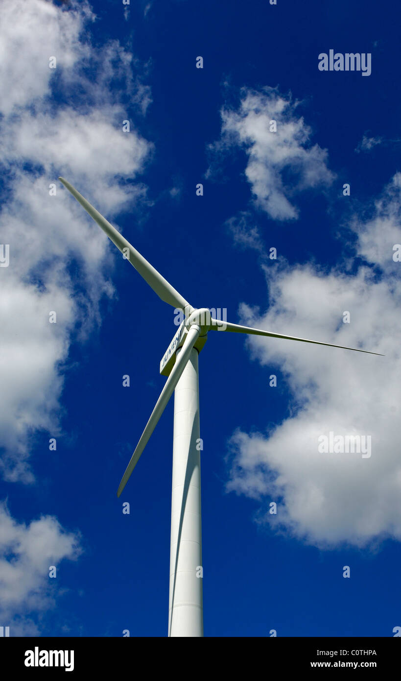 Juvent wind turbine in the Mont Crosin wind farm, canton of Jura, Switzerland - Stock Image