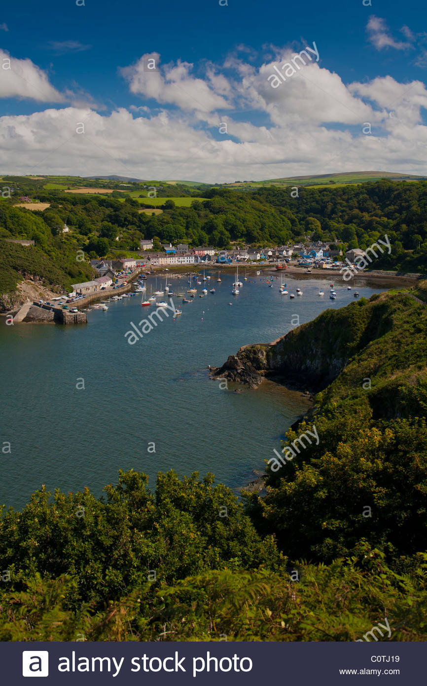 High level view over the old Fishguard Harbour in Dyfed, Wales - Stock Image