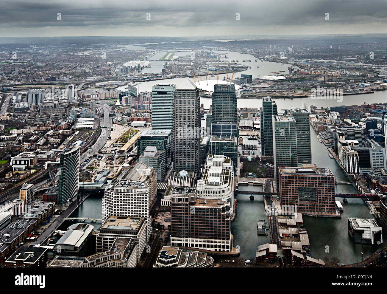 Aerial Shot of the Canary Wharf Estate in London, Greater London - Stock Image