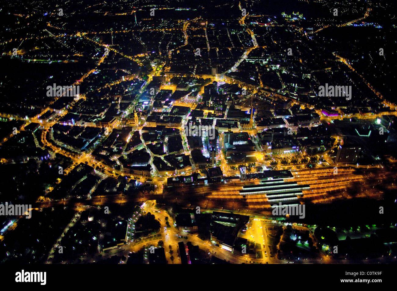 Aerial view, night shot, Dortmund, Ruhrgebiet region, North Rhine-Westphalia, Germany, Europe - Stock Image
