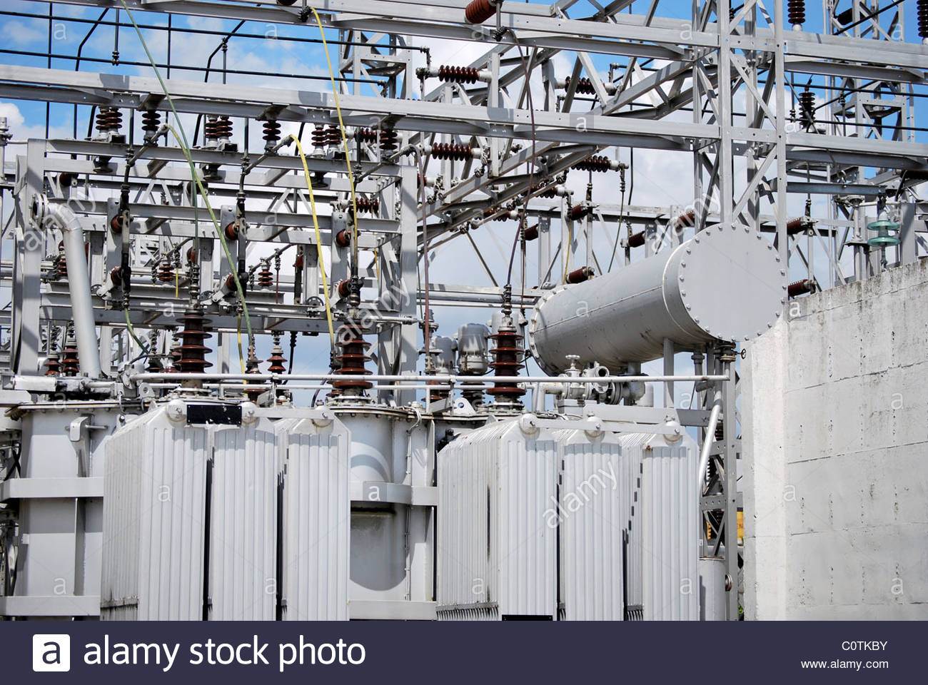 Electrical transform station. Caution High voltage. Energy concept - Stock Image