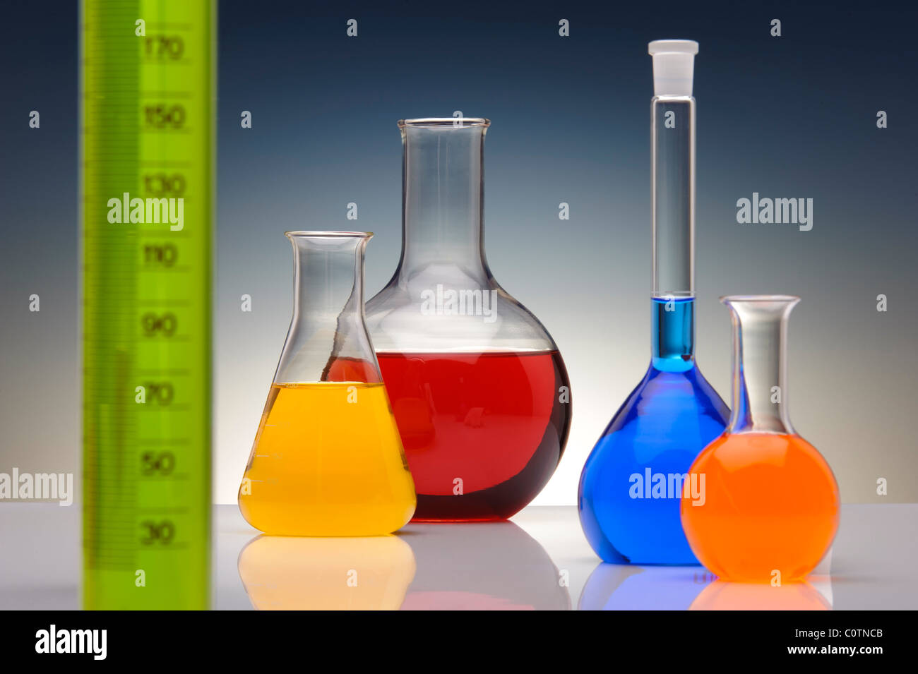 glassware in chemical laboratory - Stock Image