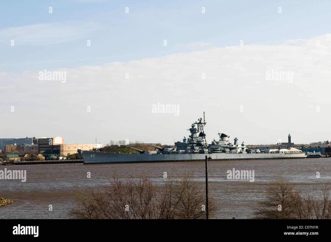 A US Navy ship on the Delaware river. - Stock Image
