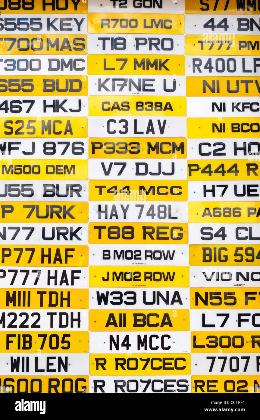 Lots of UK car number plates - Stock Image