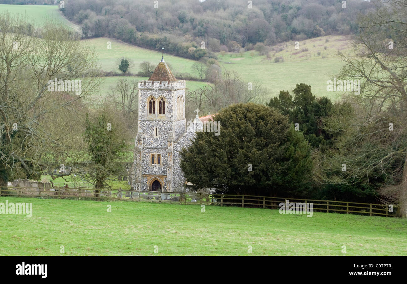 A Chilterns landscape view of St Michael and All Angels Church the parish church of Hughenden Valley Bucks UK - Stock Image