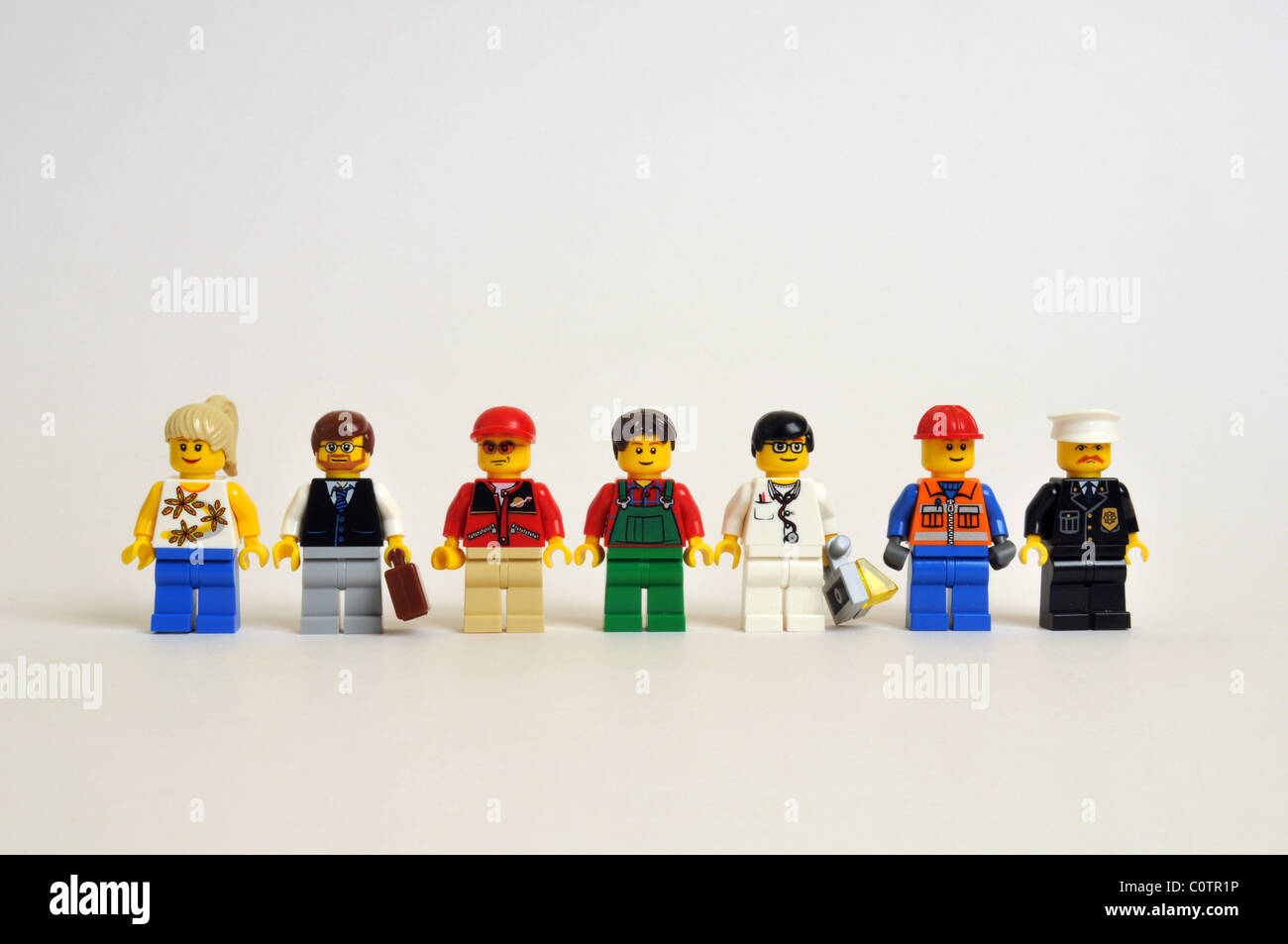 People persons men women professions trade crowd Stock Photo