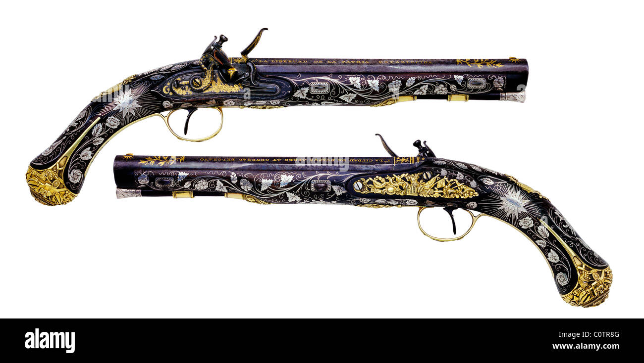 Argentinian General Manuel Belgrano's 16 bore Flintlock Pistols by Tatham & Egg of London, circa 1814. (with - Stock Image