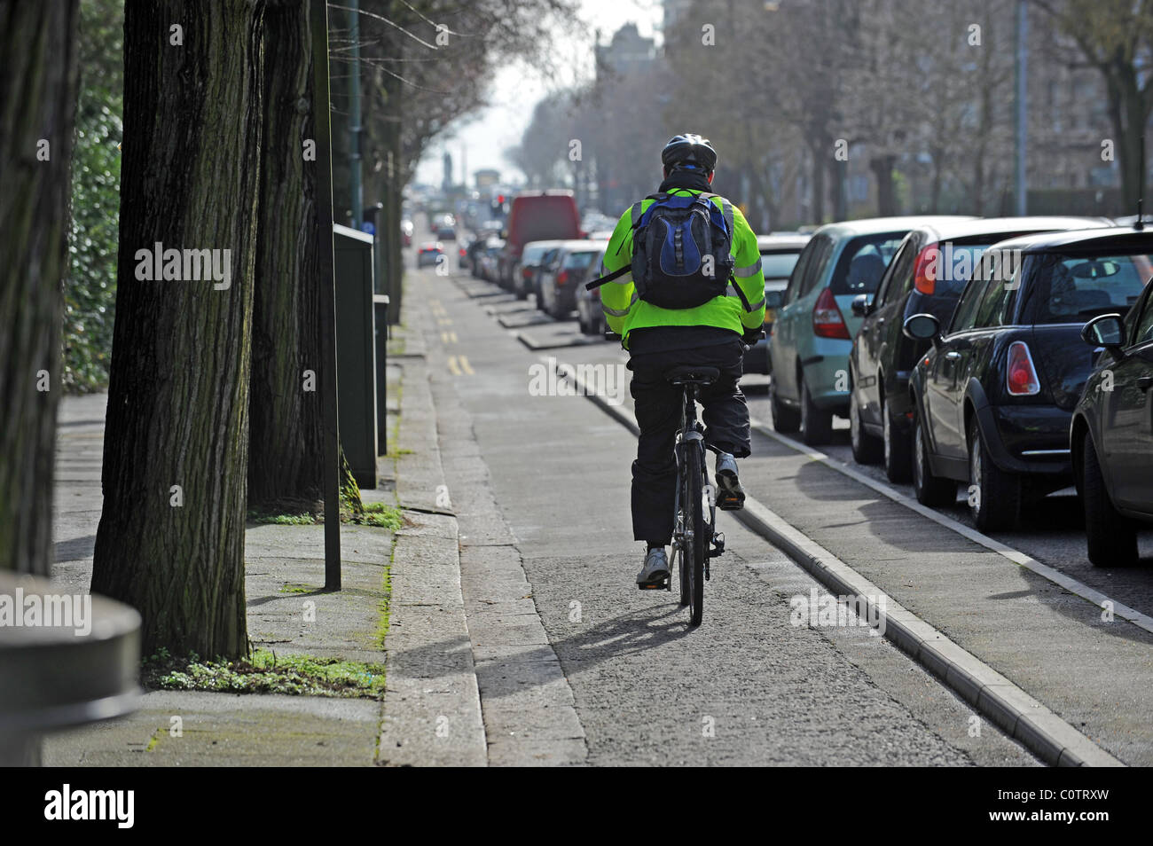 A cyclist uses the segregated bike lane in Grand Ave Brighton, the city council is now proposing to spend £1.1m - Stock Image