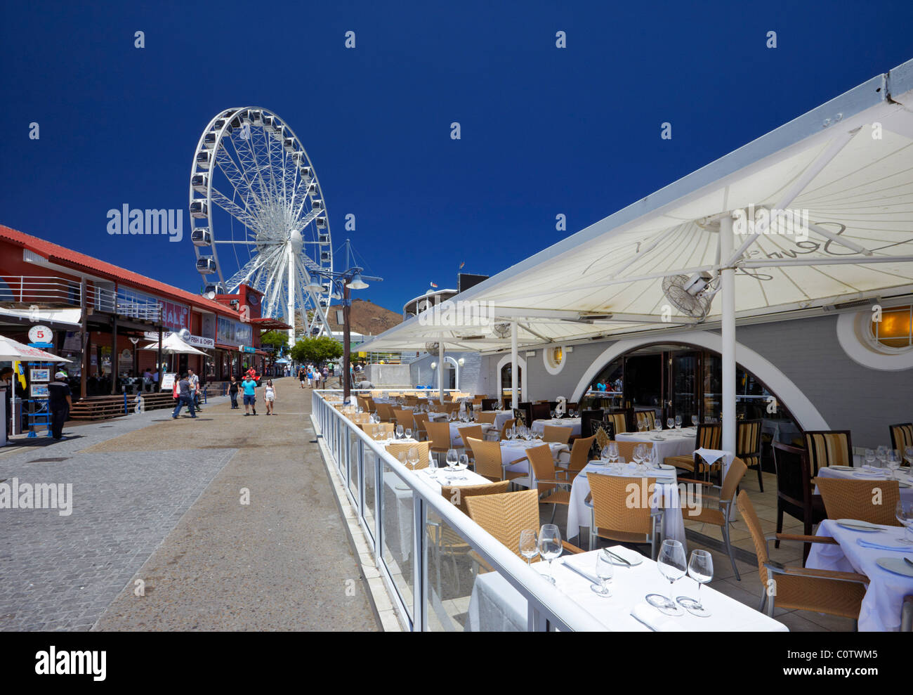 Restaurant and Wheel of Excellence on V&A Waterfront, Cape Town. Western Cape, South Africa. - Stock Image