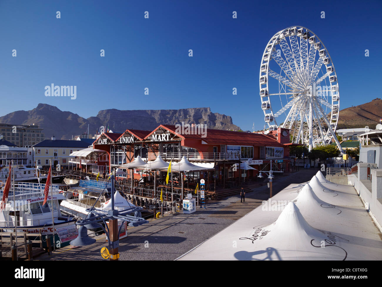 Wheel of Excellence on the V&A Waterfront with Table Mountain beyond. Cape Town, Western Cape, South Africa. - Stock Image