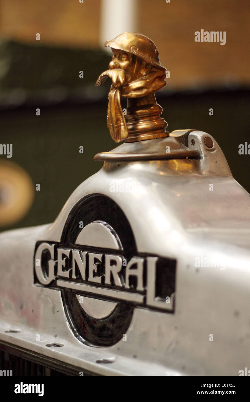 Imperial War Museum bus radiator cap of London General Omnibus Company with soldier motif used in World War 1 1st - Stock Image