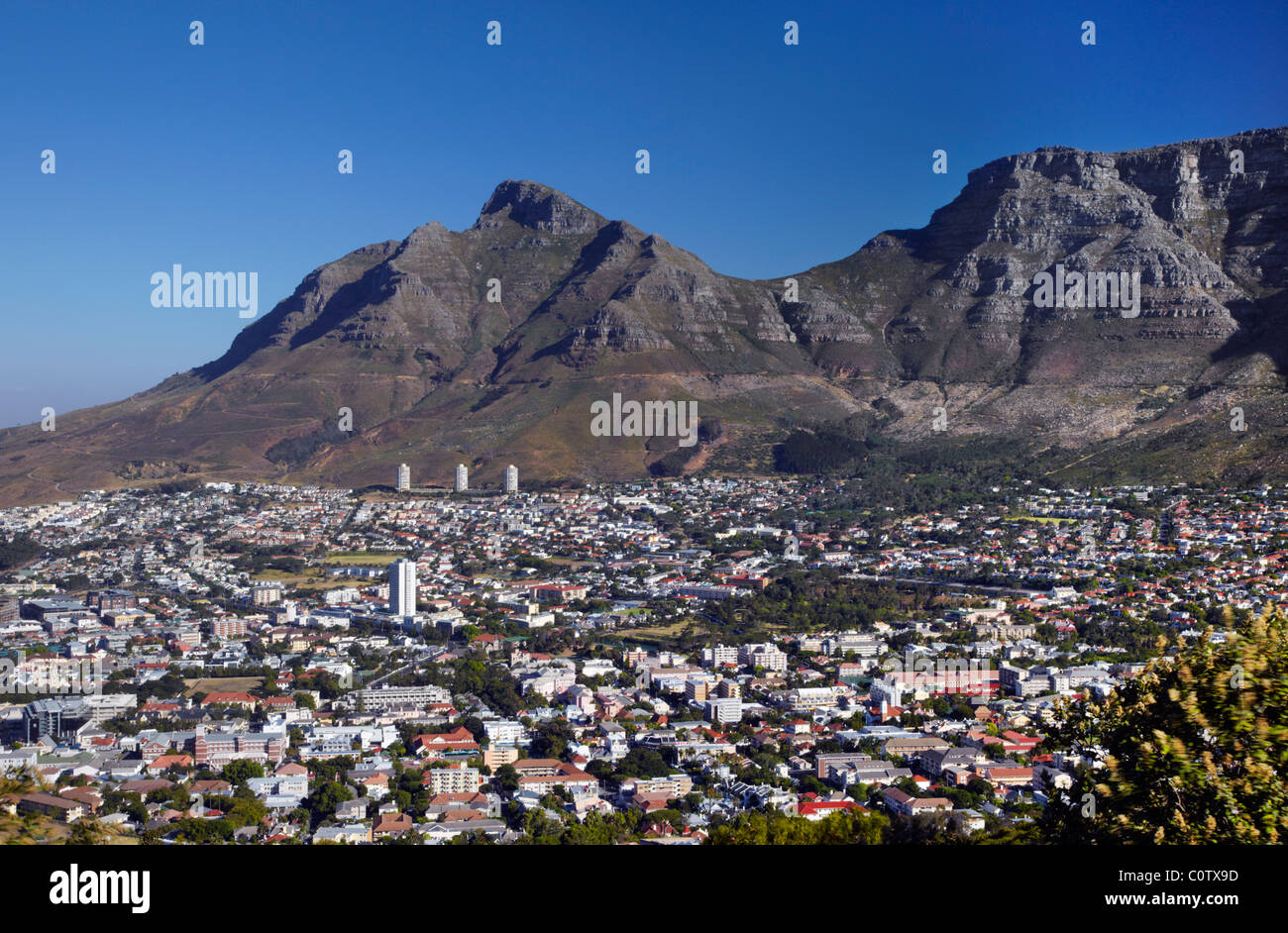 Cape Town and Table Mountain viewed from Signal Hill. Western Cape, South Africa. - Stock Image