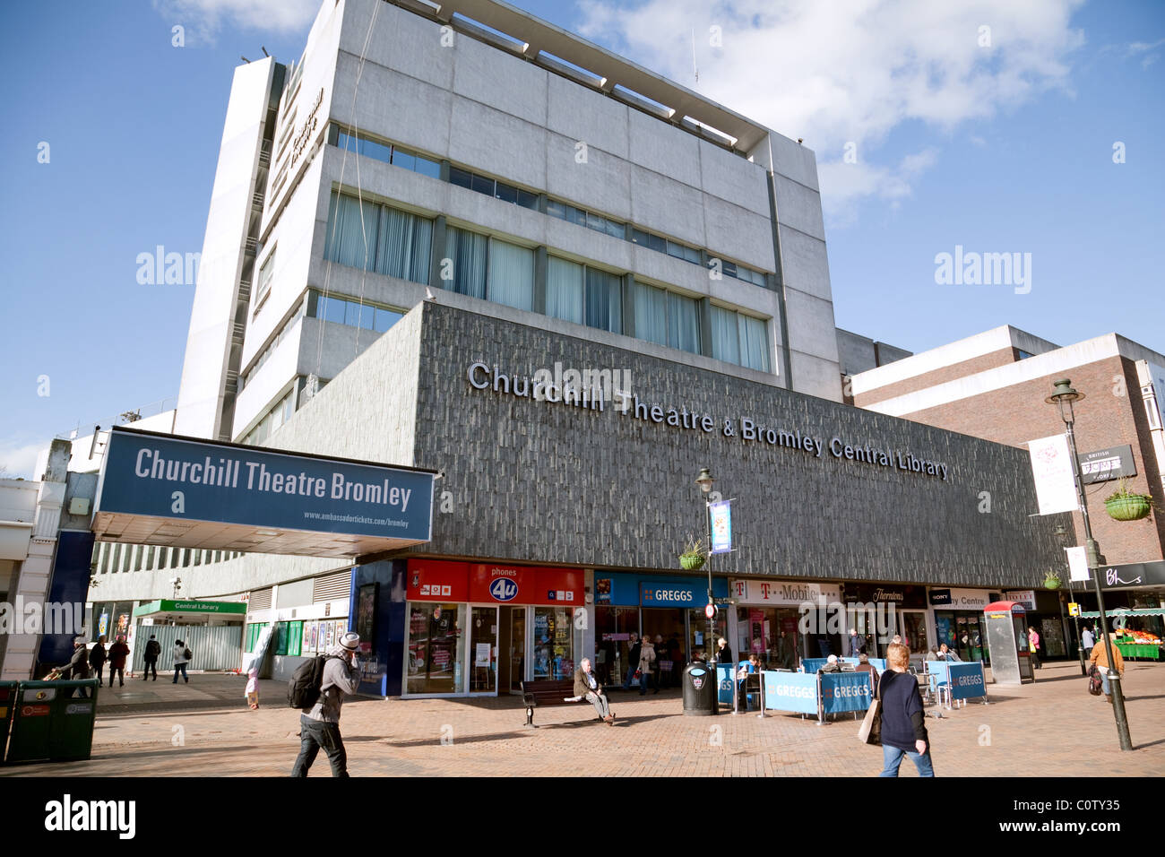 The Churchill Theatre, Bromley High Street, Bromley, Kent UK - Stock Image