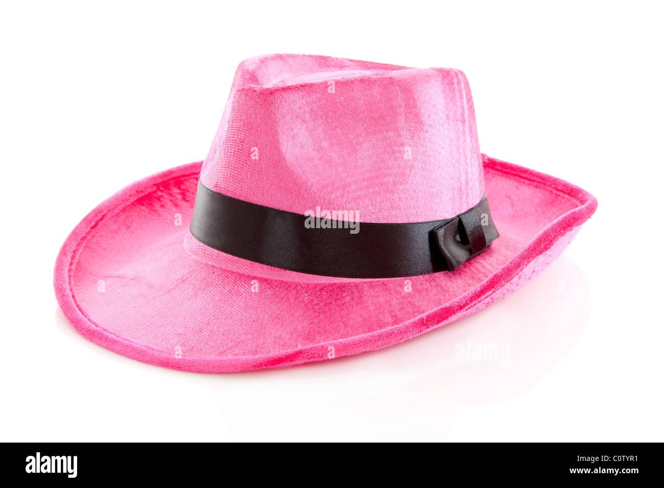 Pink mafia hat over white background - Stock Image