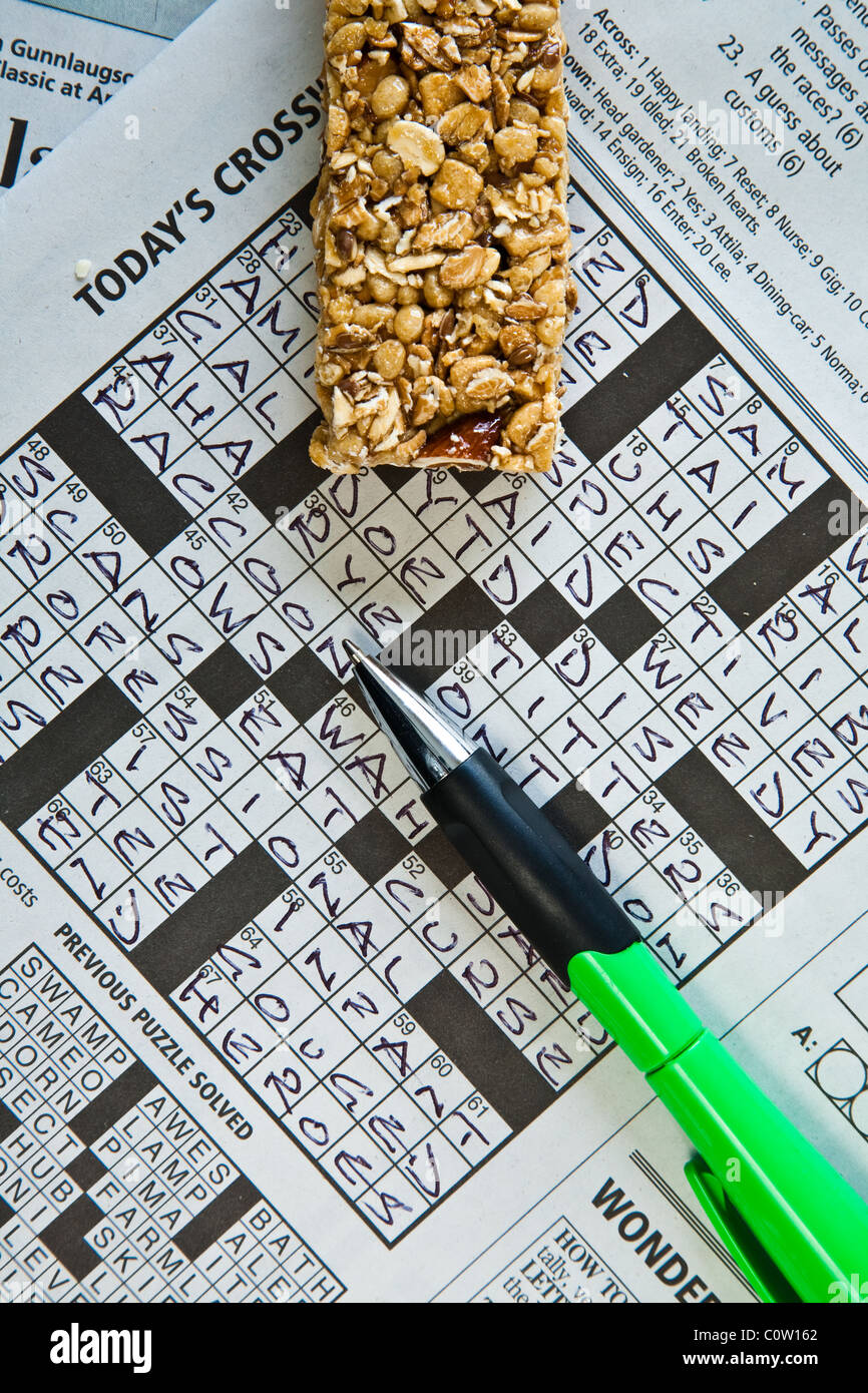 Coffee Break And Time To Complete A Crossword Puzzle With A Pen   Stock  Image