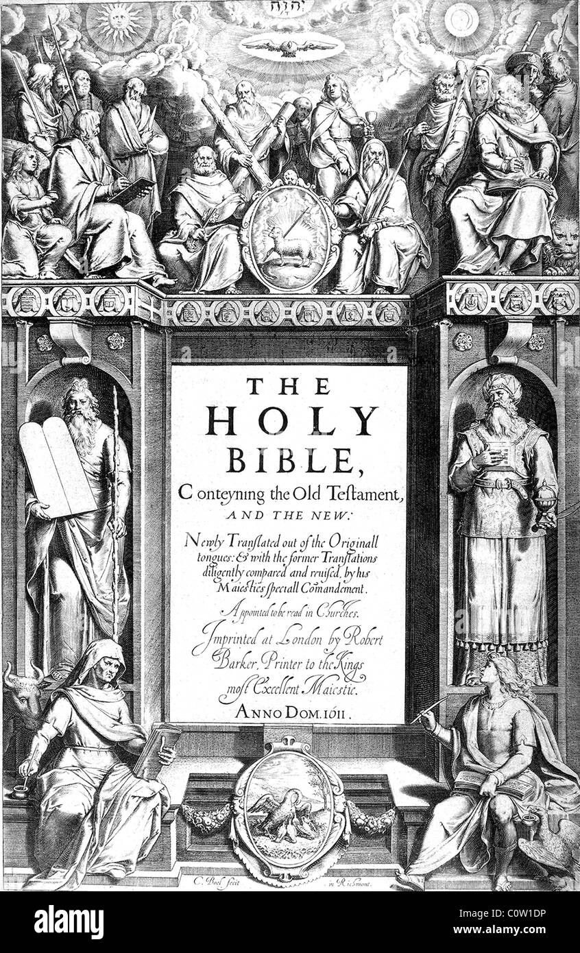 AUTHORISED KING JAMES BIBLE - title page of the 1611 first edition - Stock Image