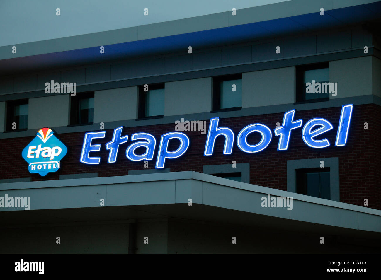 An evening view of the illuminated Etap budget hotel logo