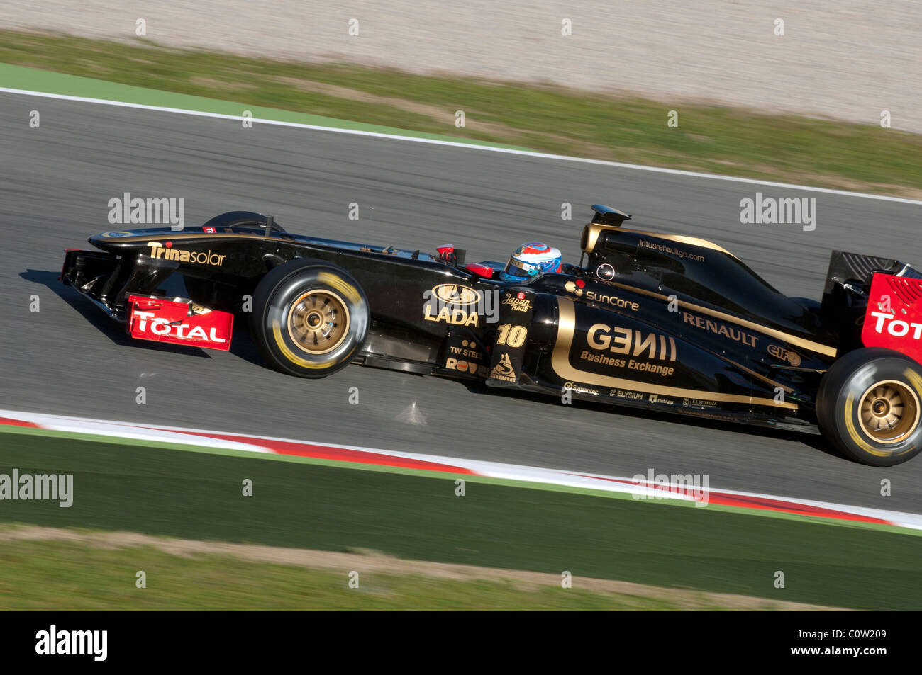 Vitaly Petrov drives for the Lotus Renault GP team during testing at the Circuit de Catalunya February 18, 2011 - Stock Image
