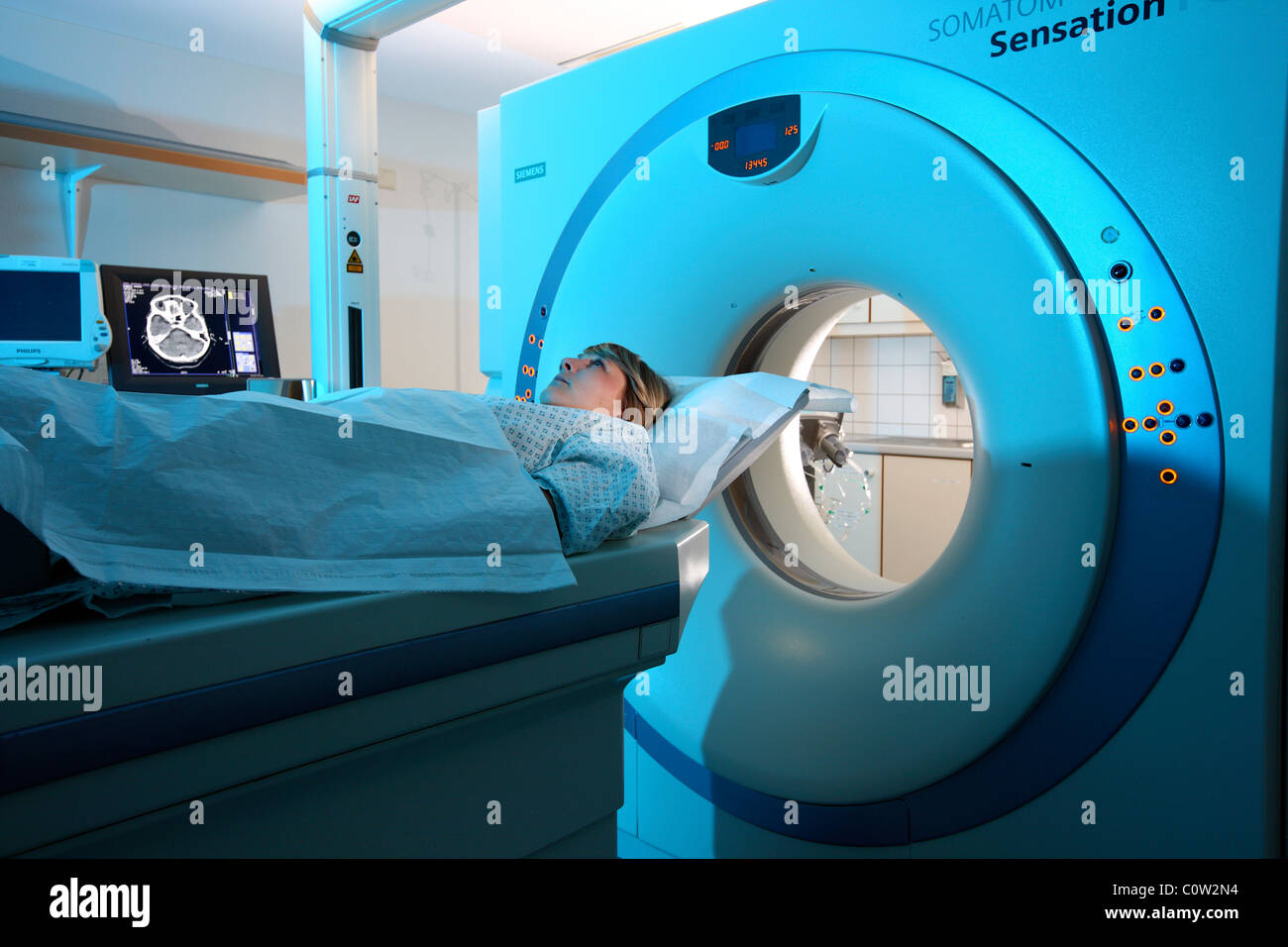 Computed axial tomography, CAT, CT,  in a hospital. Germany Stock Photo