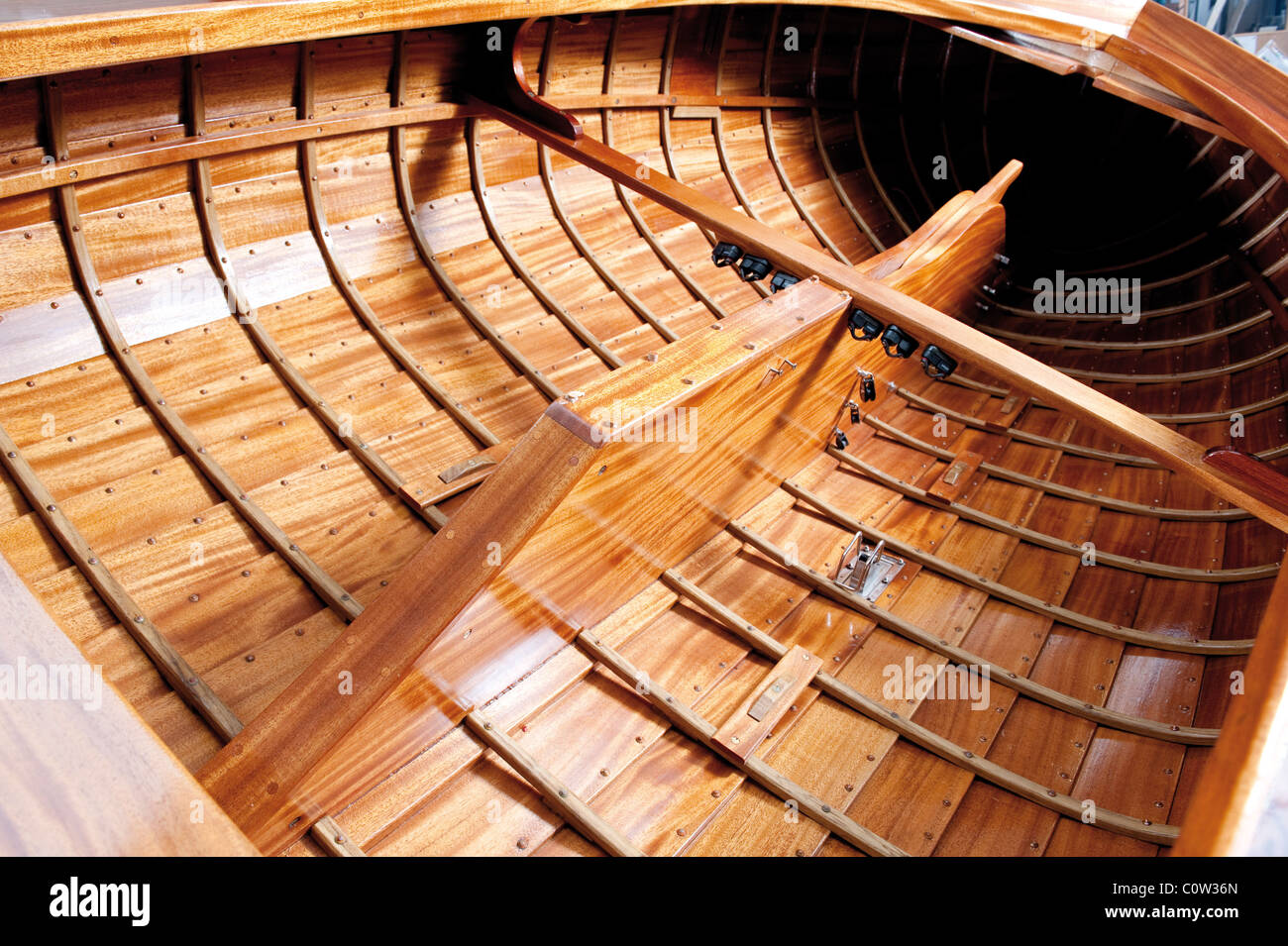 Traditional crafted wooden boat Stock Photo
