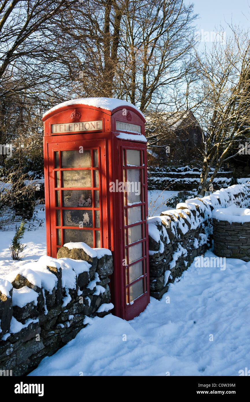 Traditional red telephone box in the Lake District - Stock Image