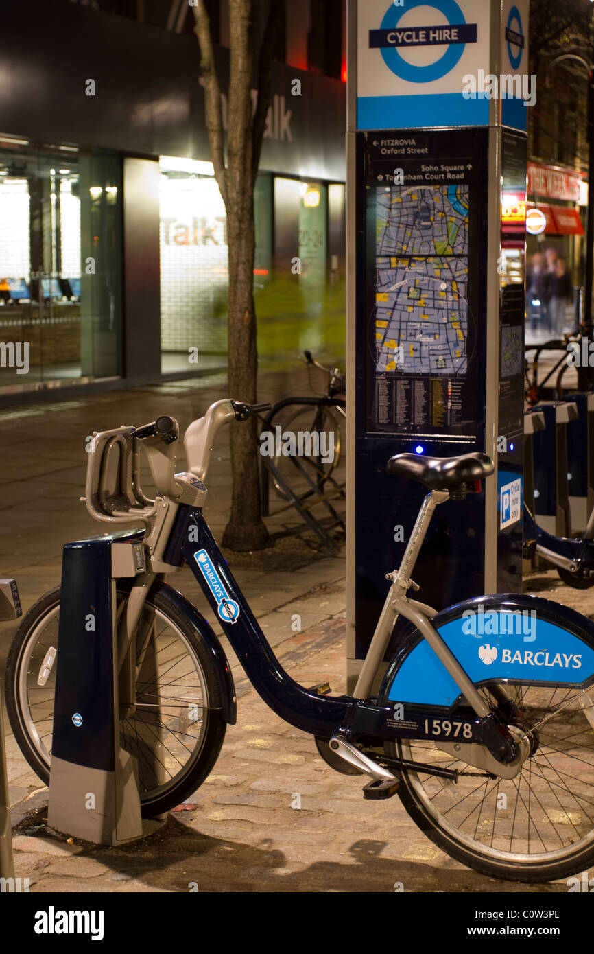 Public information Point map & 15978 Barclays sponsored cycle hire, London, UK _ London's Public Sharing - Stock Image