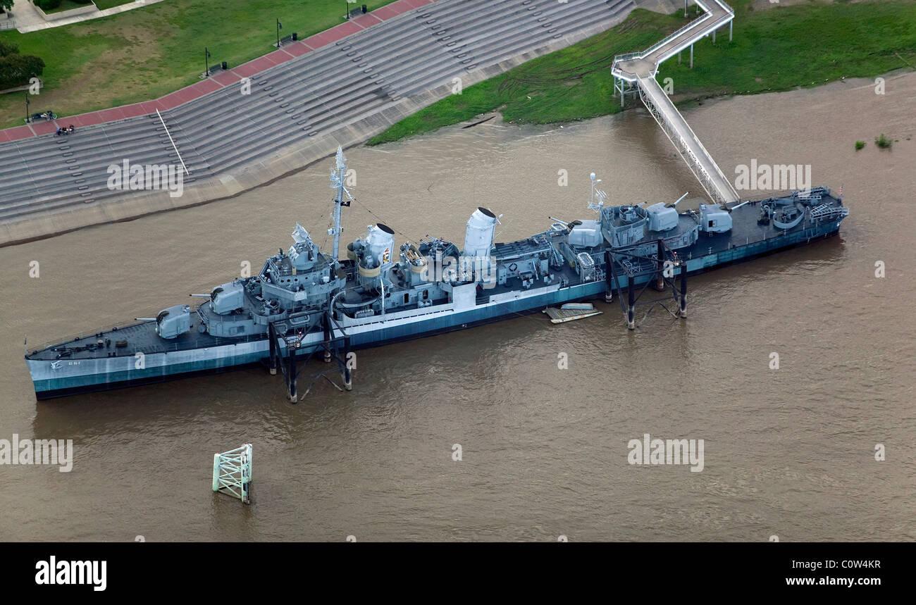 aerial view above Fletcher class destroyer USS Kidd museum