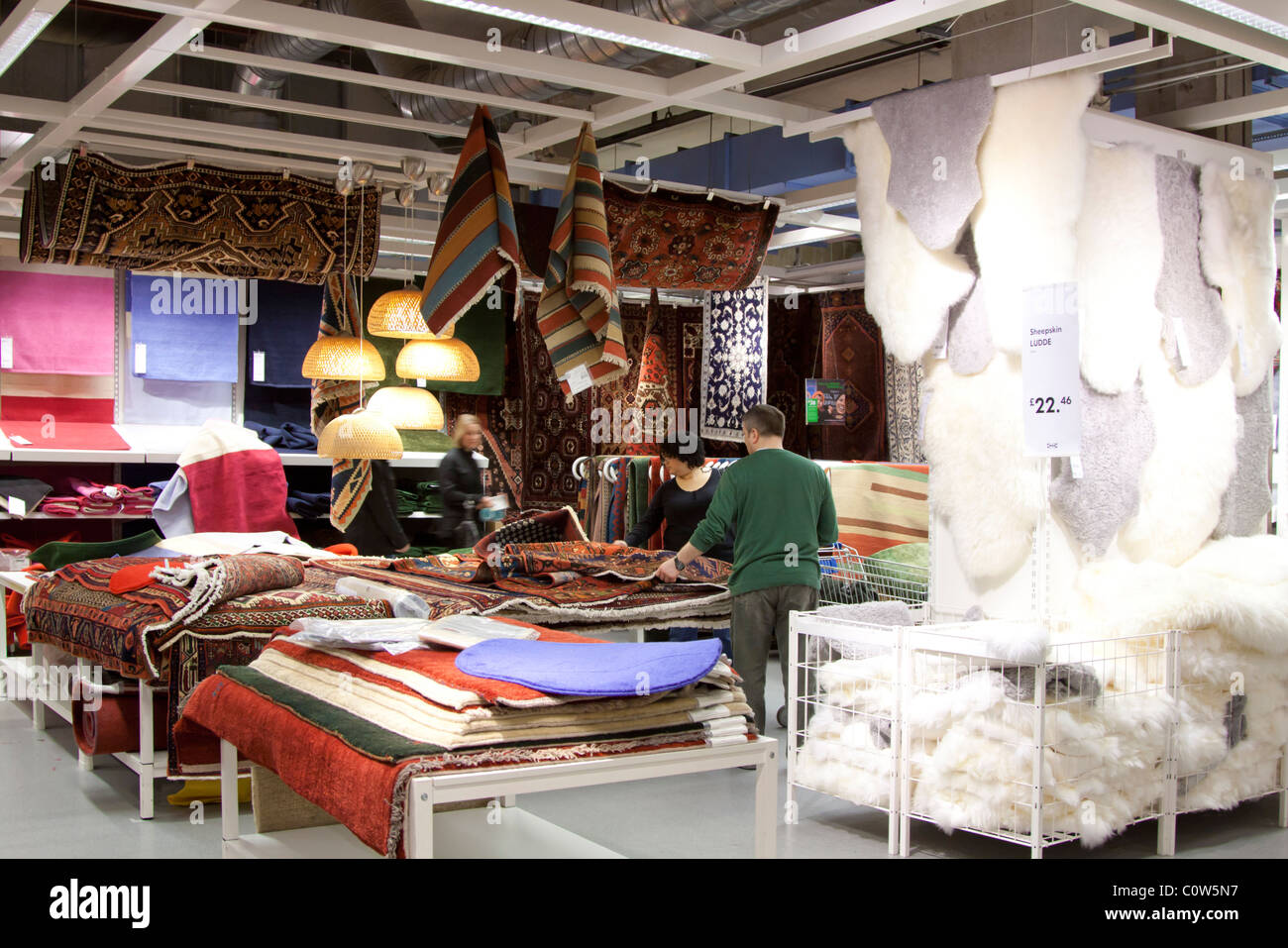 Textiles & Rugs Department - Ikea Store - Wembley - London - Stock Image