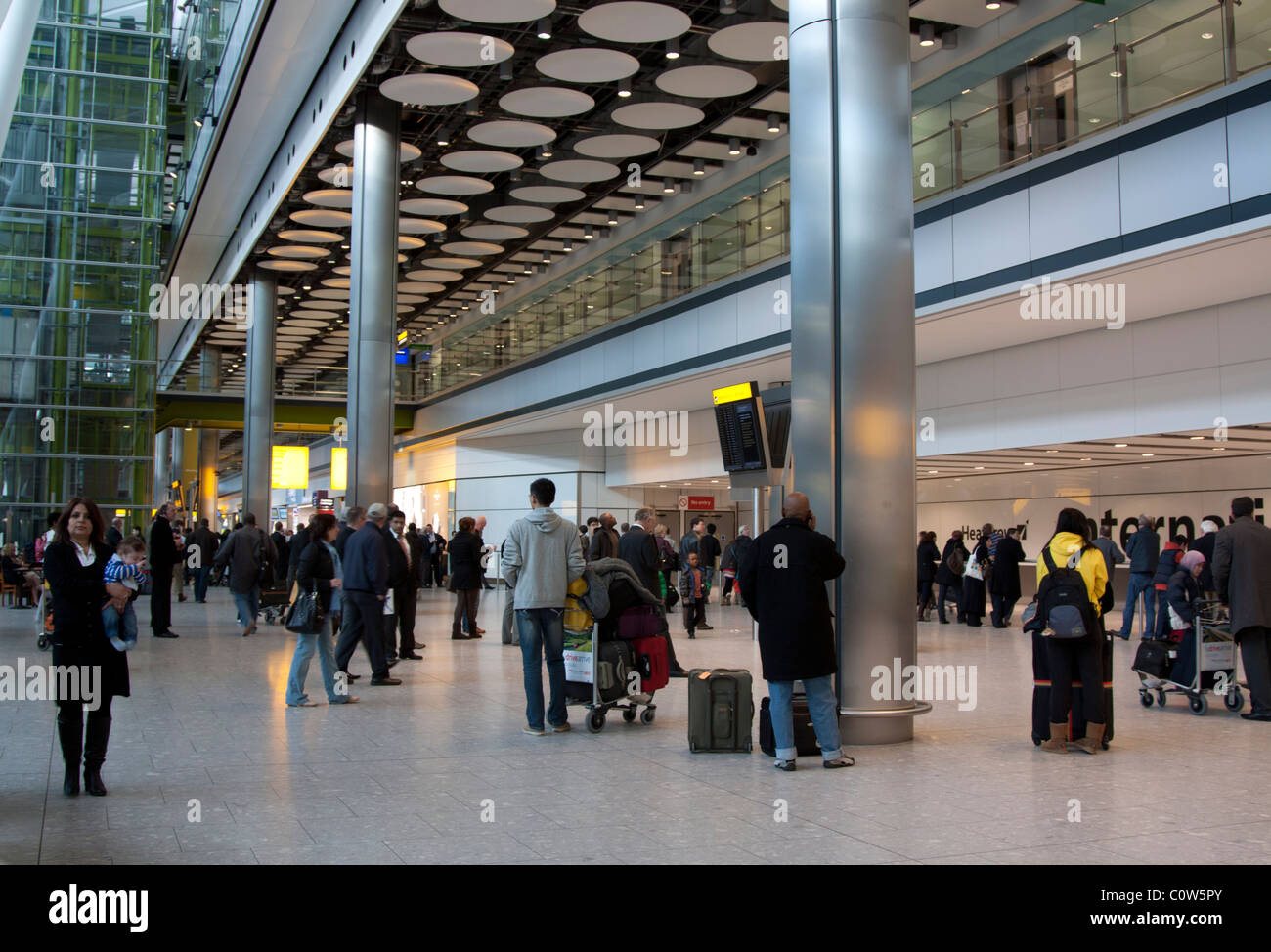 Arrivals Hall - Terminal 5 - Heathrow Airport  - London - Stock Image