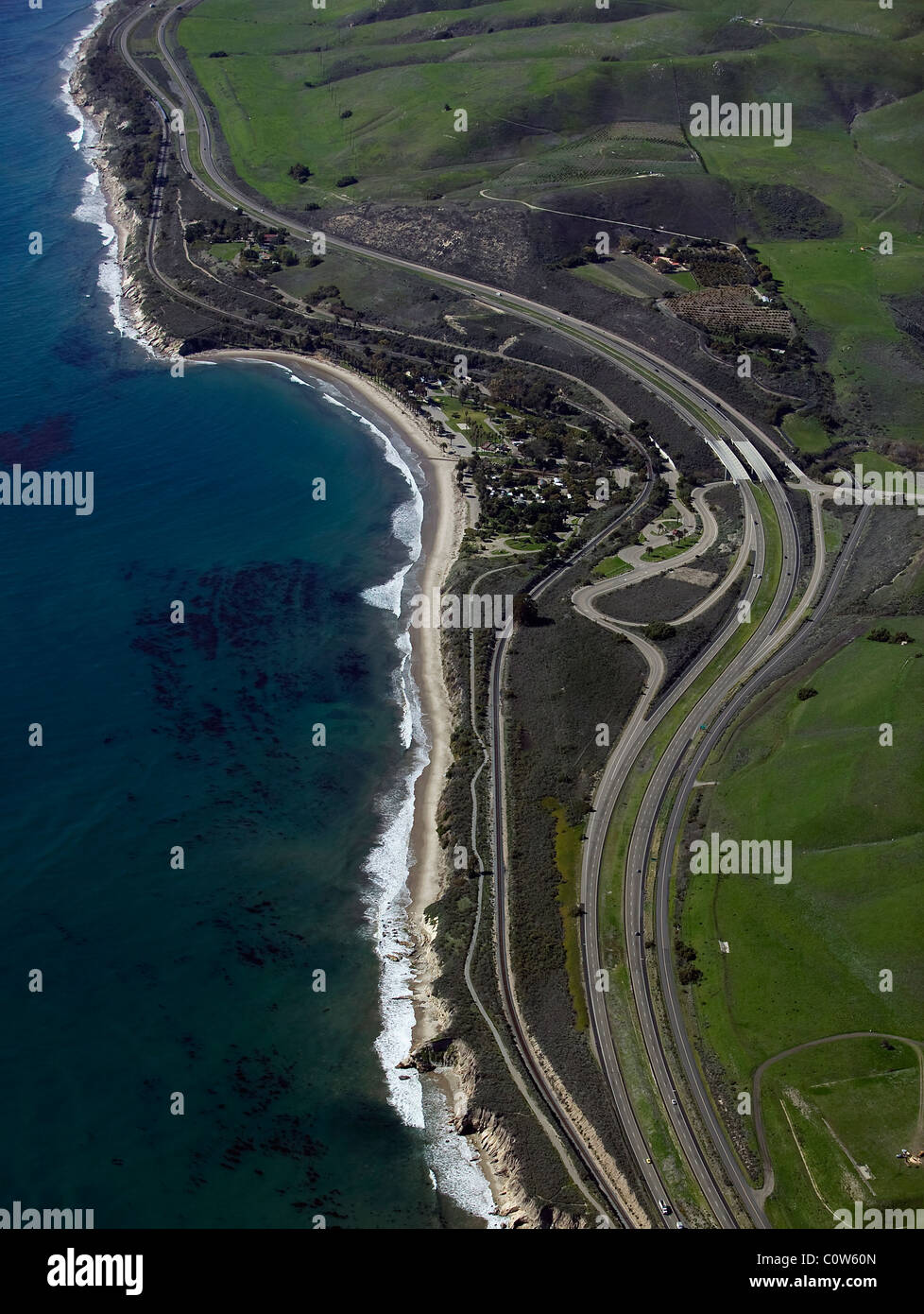aerial view above Highway One Pacific Ocean central coast California - Stock Image