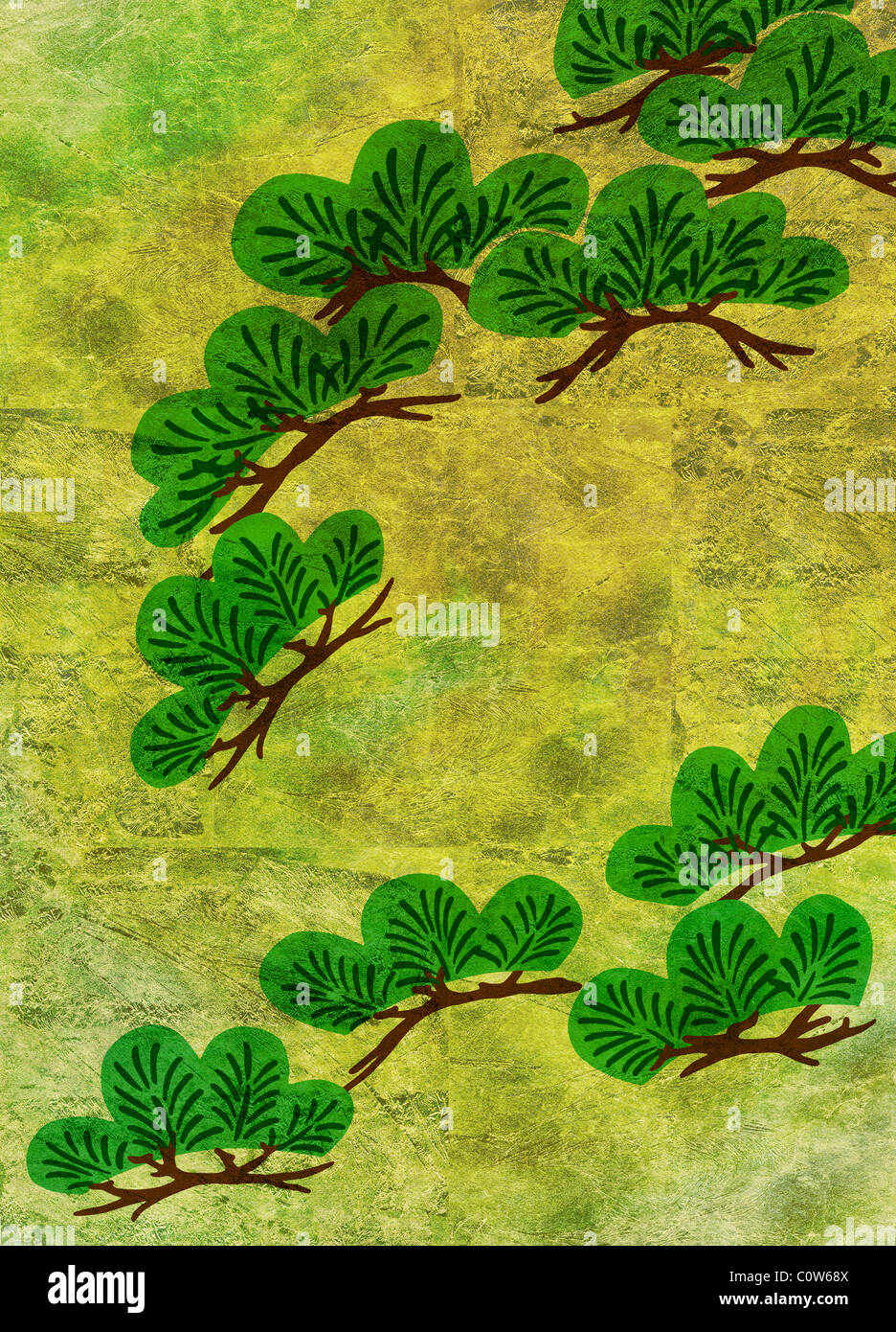 Pine Trees on Gold Backgrounds - Stock Image