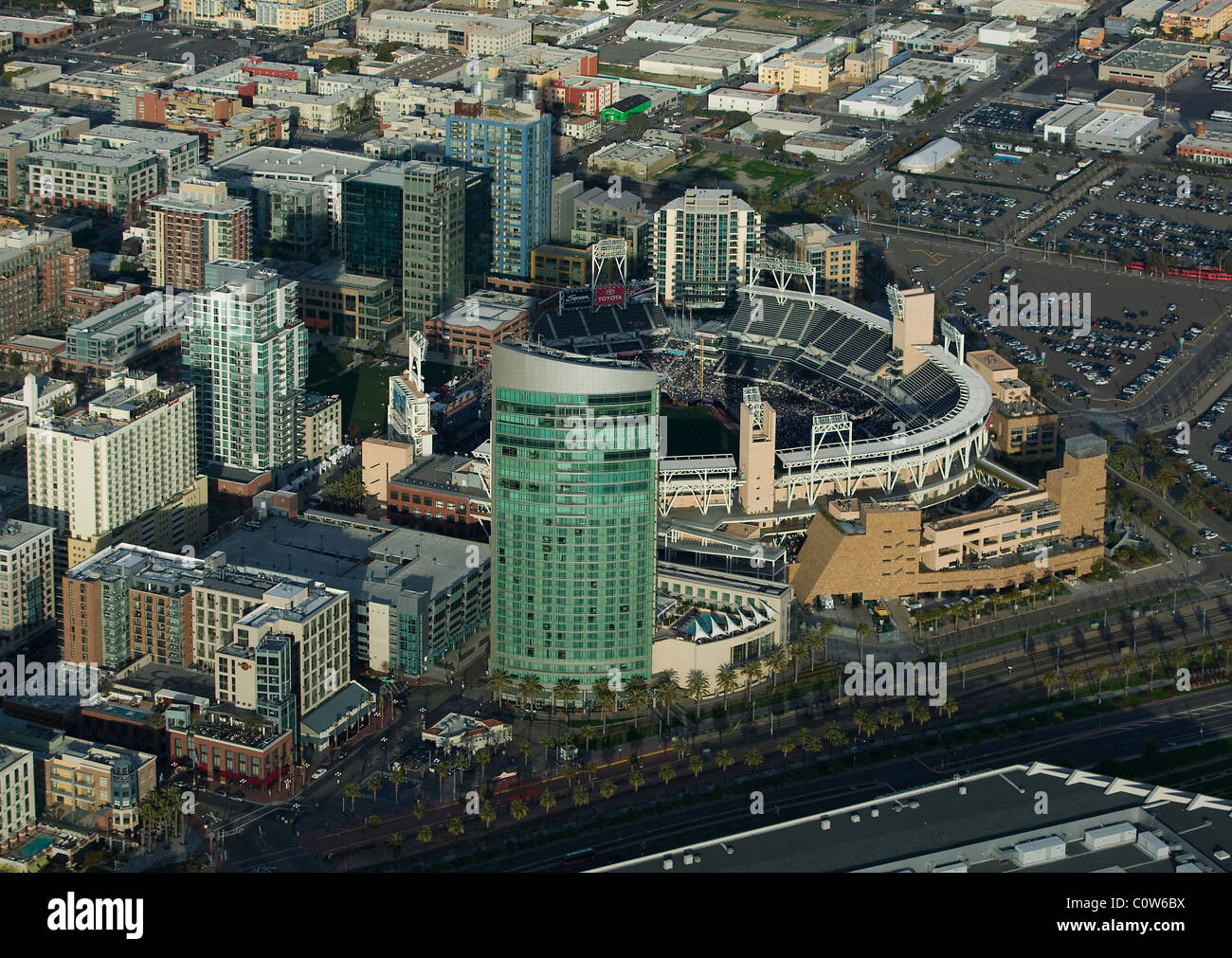 aerial view above Petco Park open air ballpark San Diego California Stock Photo