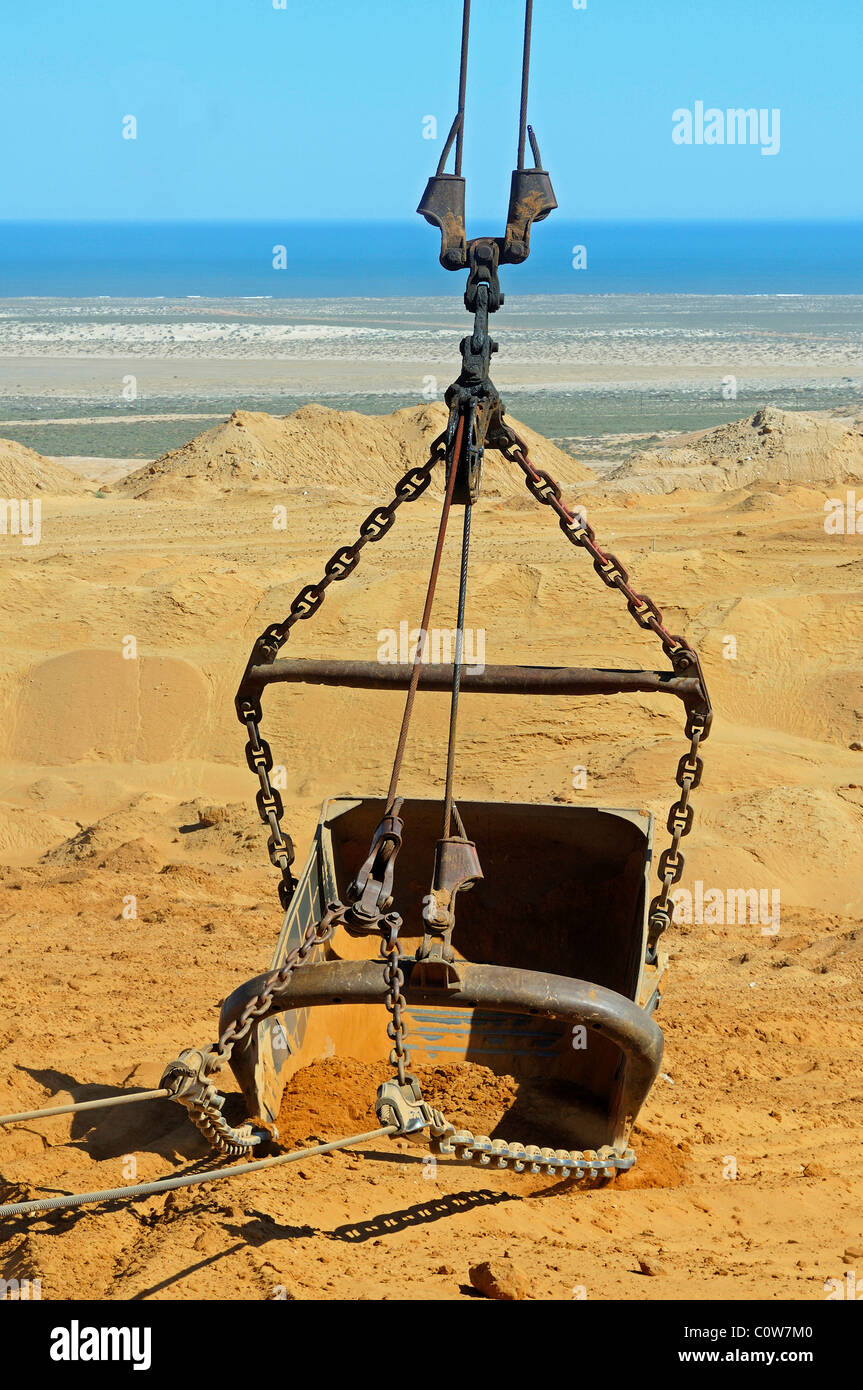 Bucket of a dragline excavator, De Beers Namaqualand Mines, Kleinzee, Namaqualand, South Africa Stock Photo