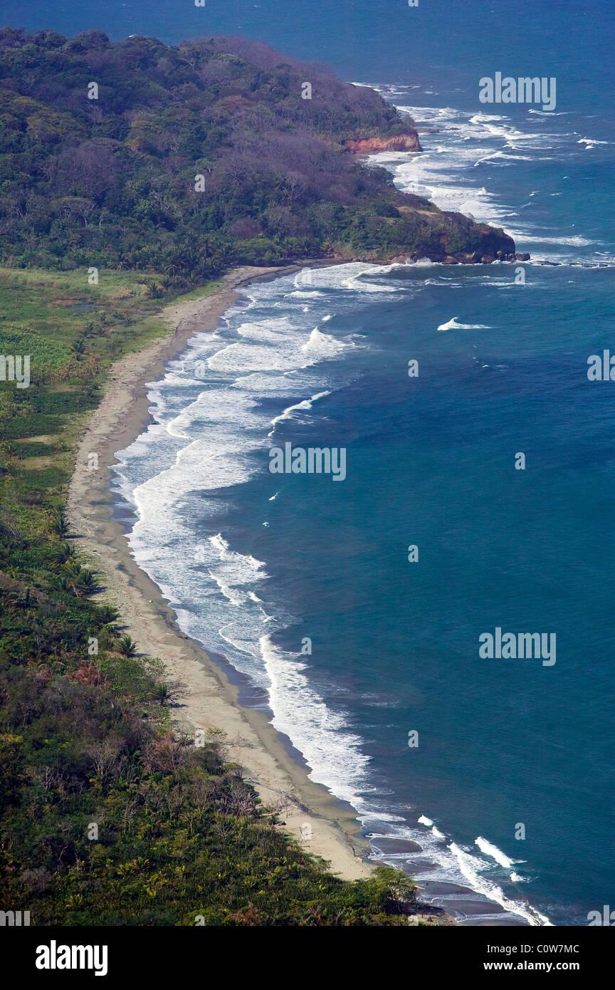 aerial view above Atlantic Caribbean coast Panama - Stock Image