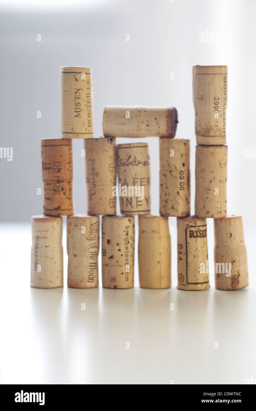 stack of wine corks - Stock Image