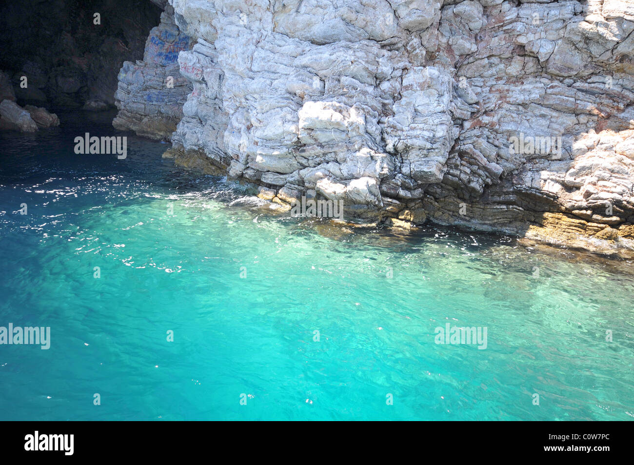 Blue-green sea waters of the Aegean sea, Turkey - Stock Image