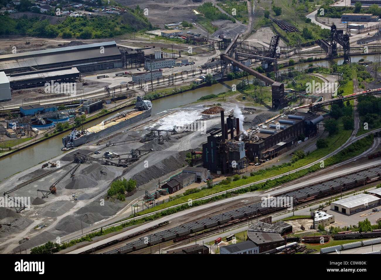 aerial view above steel industrial area Cuyahoga river Cleveland Ohio - Stock Image