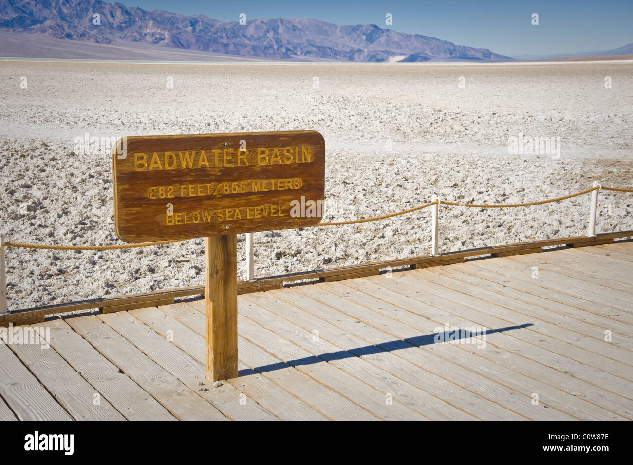 Badwater Basin Sign, Death Valley National Park, California USA - Stock Image