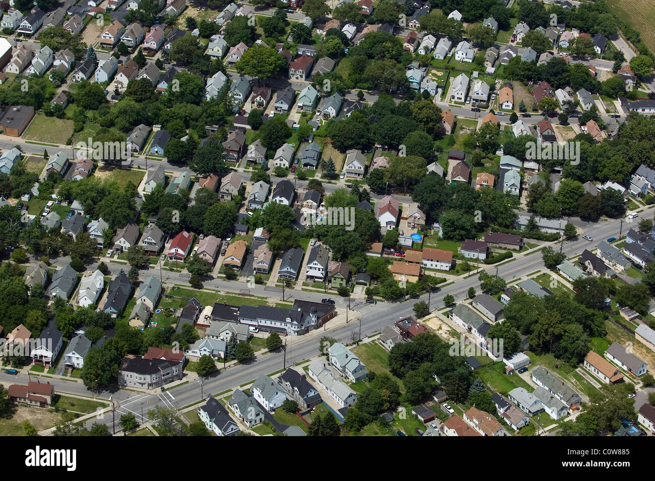 aerial view above residential neighborhood Cleveland Ohio - Stock Image