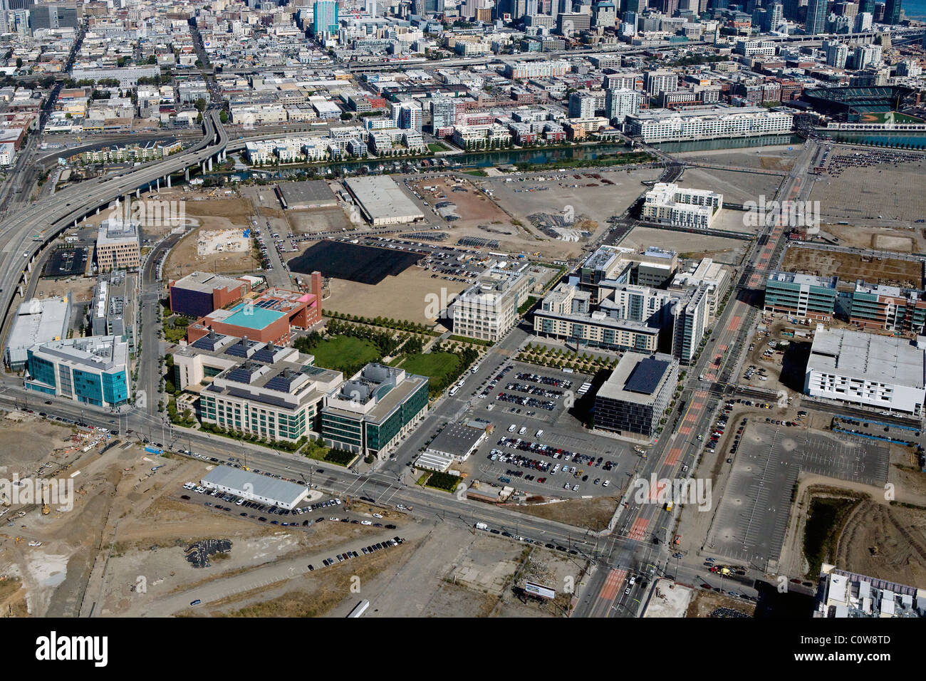 aerial view above Mission Bay biomed biotechnology UCSF University of California San Francisco - Stock Image