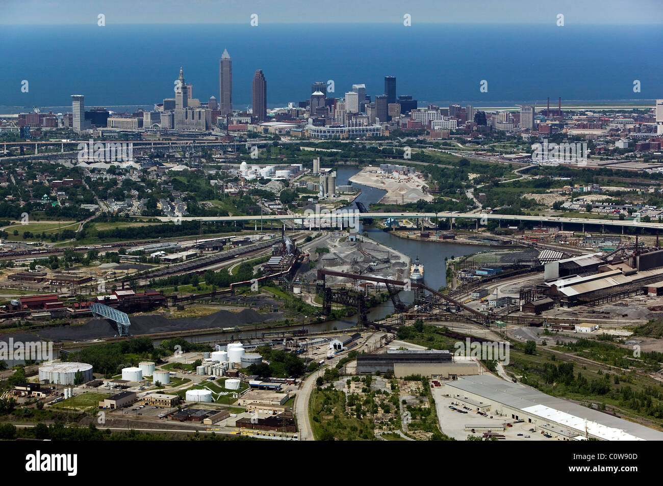 aerial view above Cuyahoga river toward Lake Erie downtown Cleveland Ohio - Stock Image