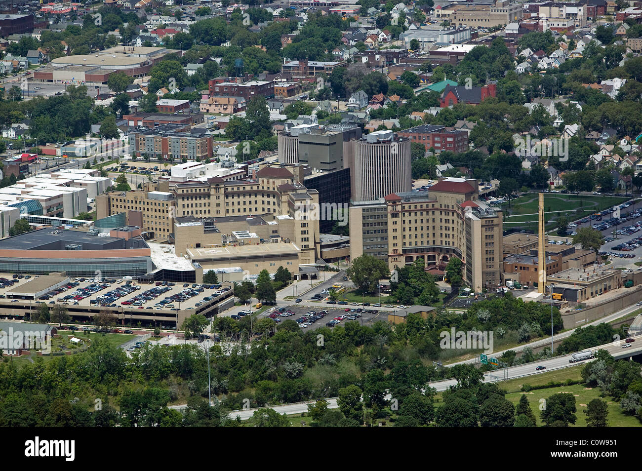 aerial view above Cleveland Psychiatric Institute Ohio - Stock Image