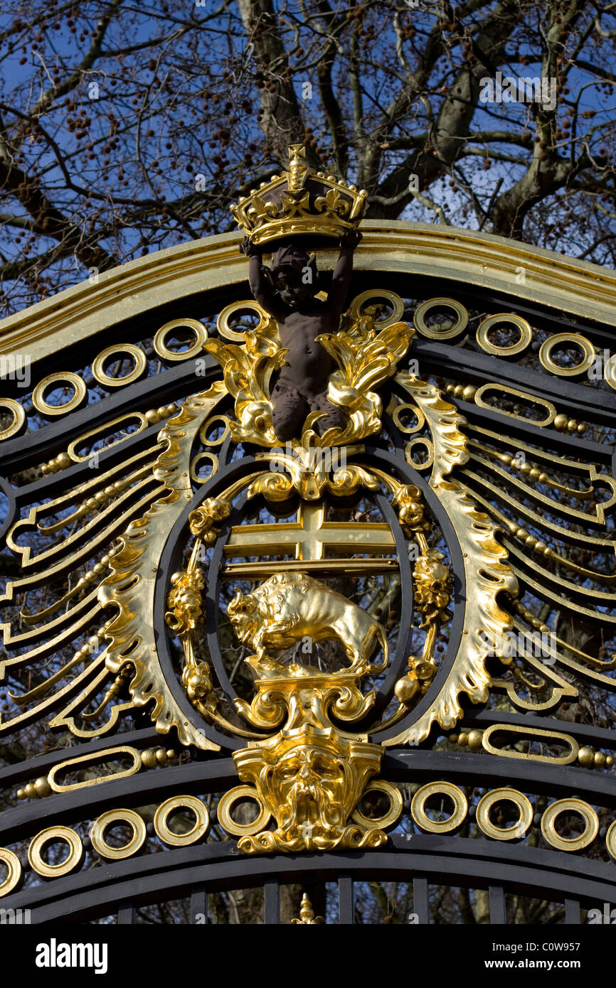 Gilded Decoration on Canada Gate Green Park London England - Stock Image