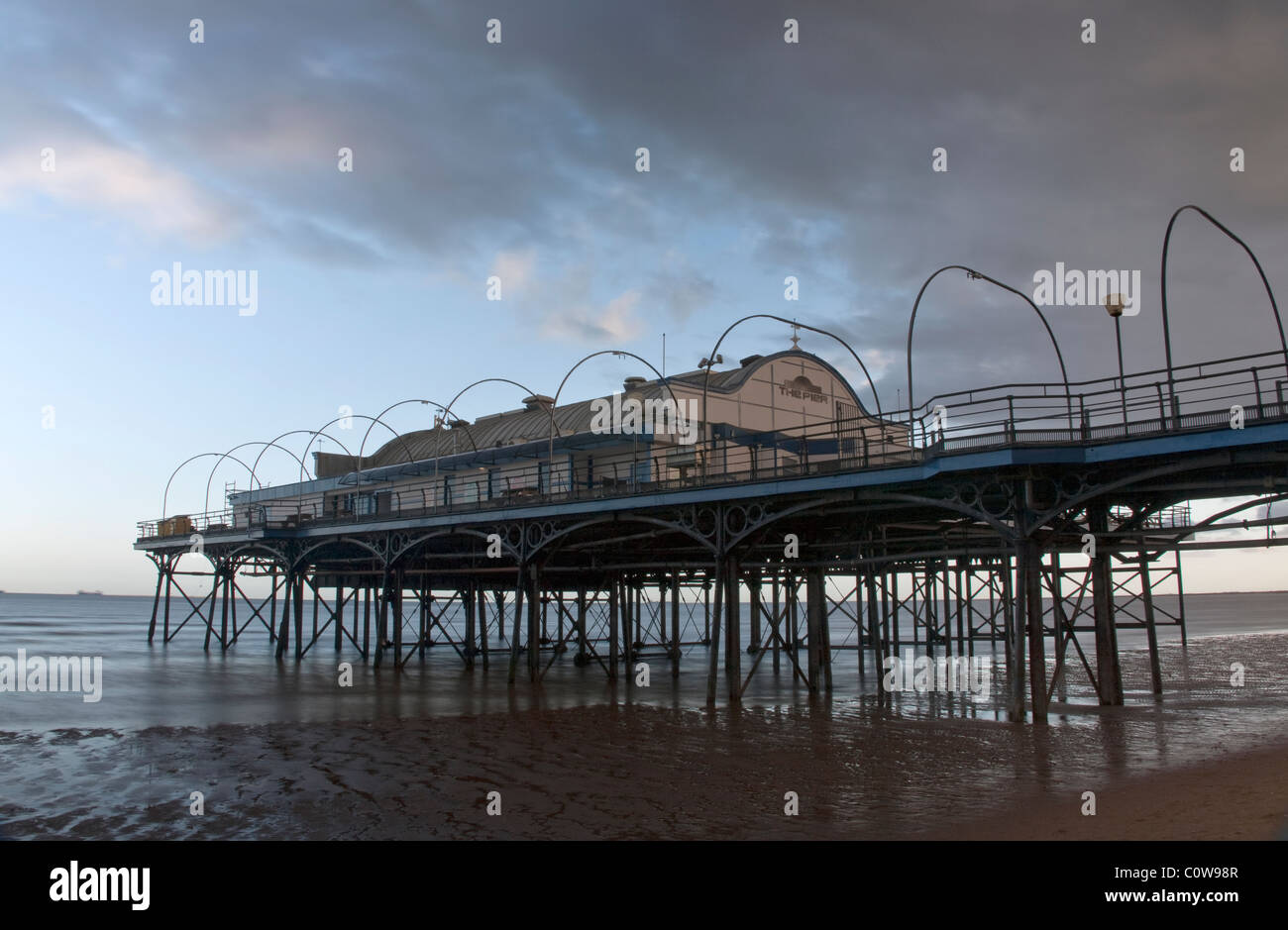 Cleethorpes Pier (slow exposure), North East Lincolnshire Feb 2011 - Stock Image
